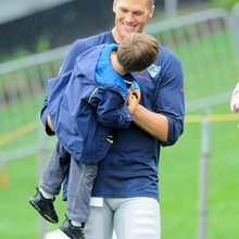 Aug. 13, 2013 - Foxborough, Massachusetts, USA - August 13, 2013 - Foxborough, Massachusetts, U.S. - New England Patriots quarterback Tom Brady (12) spends time with his son Benjamin at the end of the New England Patriots training camp at Gillette Stadium in Foxborough Massachusetts. Eric Canha/CSM(Credit Any Usage: ZUMAPRESS.com/Keystone Press)