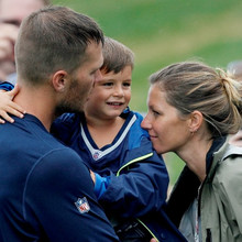 Aug. 13, 2013 - Foxborough, Florida, U.S. - DANIEL WALLACE | Times.New England Patriots quarterback Tom Brady (12) greets his wife Gisele as he holds his son Benjamin after a joint practice with the Tampa Bay Buccaneers in Foxborough, Mass. on Tuesday, August 13, 2013(Credit Any Usage: ZUMAPRESS.com/Keystone Press)