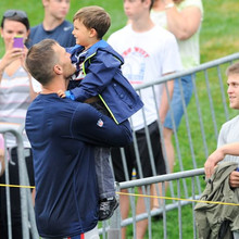 Aug. 13, 2013 - Foxborough, Massachusetts, USA - August 13, 2013 - Foxborough, Massachusetts, U.S. - New England Patriots quarterback Tom Brady (12) spends time with his son Benjamin and wife Gisele B