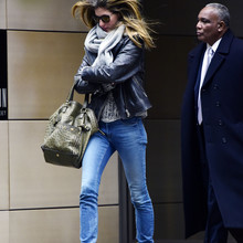 EXCLUSIVE ALL ROUNDER Gisele Bundchen Steps Out in Leather and Jeans! The worlds highest paid (retired) supermodel stepped out in the the brisk New York weather this afternoon sporting ripped jeans and a leather jacket. Gisele was spotted wrapping a grey