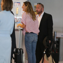 EXCLUSIVE Gisele Bundchen is seen arriving at Roissy CDG airport to catch a flight to Boston. The supermodel was driven to the airport in the same black Mercedes that took her to the clinic in Paris