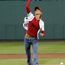 BRAZILIAN TOP MODEL GISELE THROWS OUT FIRST PITCH AT RED SOX GAME IN BOSTON