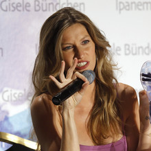 Brazilian model Bundchen presents the 'Ipanema-Gisele Bundchen' sandals collection in Paris